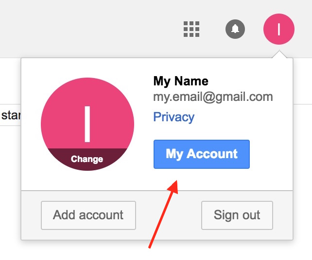 gmail account settings button