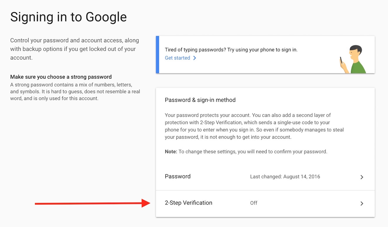 gmail activate two factor authentication