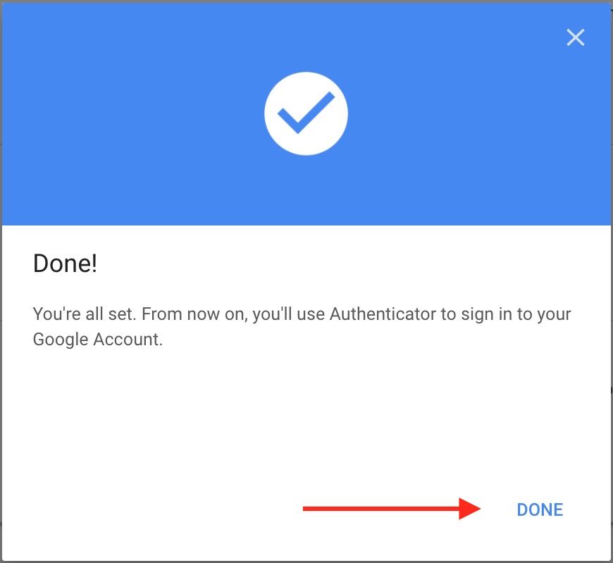 google authenticator setup done