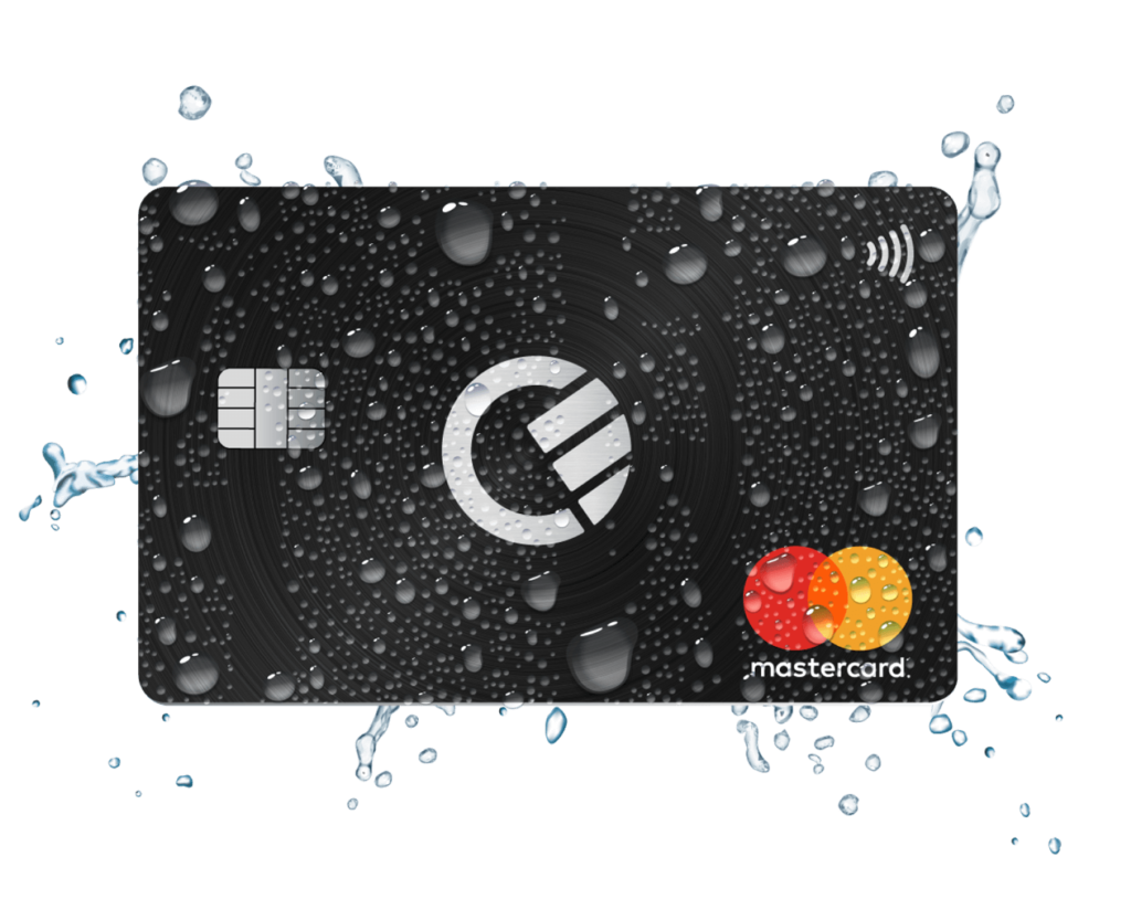 curve black card with water splashes