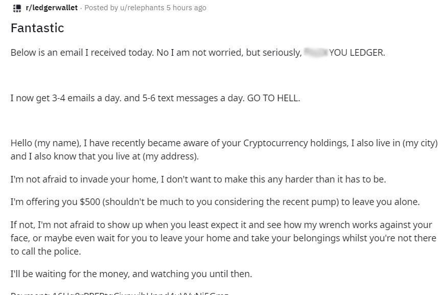 получен имейл от клиент на ledger с изтекли данни