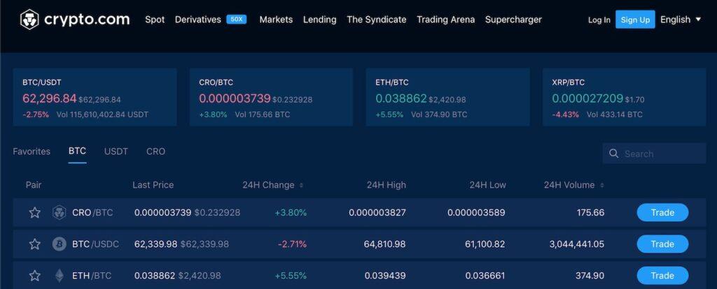 crypto.com exchange view
